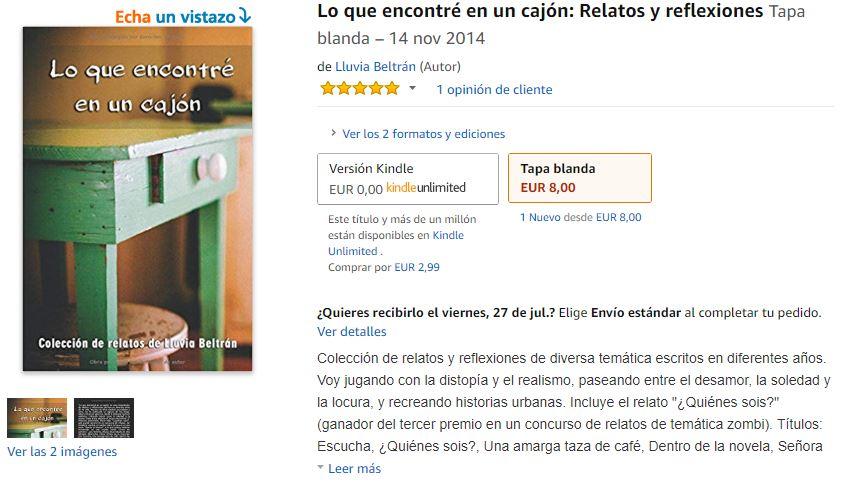 """Pantallazo de la venta de """"Lo que encontré en un cajón"""" en Amazon."""